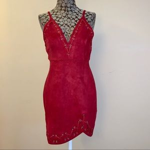 Faux suede red mini dress with lace up detail sz L